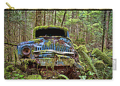Carry-all Pouch featuring the photograph Abandoned Car In The Forest by Peggy Collins