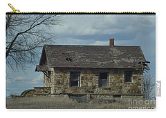 Carry-all Pouch featuring the photograph Abandoned Kansas Stone House by Mark McReynolds