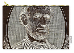 Carry-all Pouch featuring the photograph Abe On The 5 B W Inverted Brown by Rob Hans