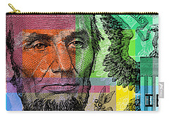 Carry-all Pouch featuring the digital art Abraham Lincoln - $5 Bill by Jean luc Comperat
