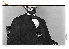 Carry-all Pouch featuring the photograph Abraham Lincoln Portrait - Used For The Five Dollar Bill - C 1864 by International  Images