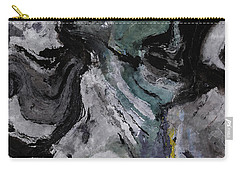 Carry-all Pouch featuring the painting Abstract And Minimalist Acryling Painting In Gray Color by Ayse Deniz