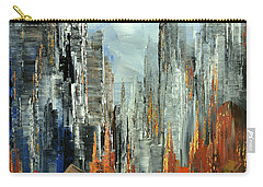 Carry-all Pouch featuring the painting Abstract Autumn by Tatiana Iliina