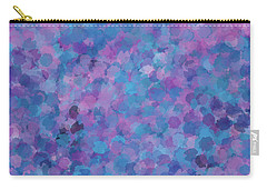 Carry-all Pouch featuring the mixed media Abstract Blues Pinks Purples 3 by Clare Bambers