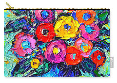 Abstract Colorful Wild Roses Modern Impressionist Palette Knife Oil Painting By Ana Maria Edulescu  Carry-all Pouch