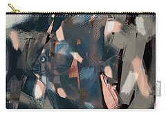 Carry-all Pouch featuring the digital art Abstract Cube Fish With Overbite by Nola Lee Kelsey