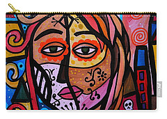 Carry-all Pouch featuring the painting Abstract Day Of The Dead by Pristine Cartera Turkus