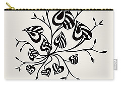 Abstract Floral With Pointy Leaves In Black And White Carry-all Pouch