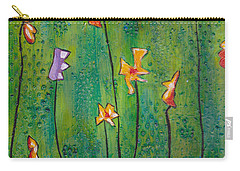 Abstract Flowers Orange, Purple Carry-all Pouch