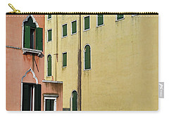 Carry-all Pouch featuring the photograph Abstract Geometric Venetian Buildings In Yellow And Peach by Brooke T Ryan