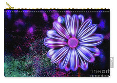 Abstract Glowing Purple And Blue Flower Carry-all Pouch