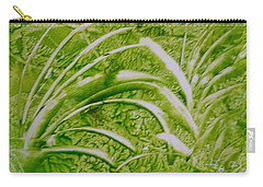 Abstract Green And White Leaves And Grass Carry-all Pouch