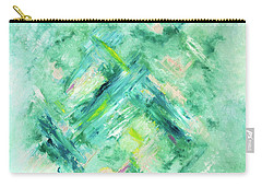 Abstract Green Blue Carry-all Pouch by Cindy Lee Longhini