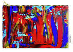 Abstract In Blue And Red Carry-all Pouch