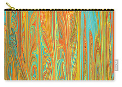 Carry-all Pouch featuring the digital art Abstract In Copper, Orange, Blue, And Gold by Jessica Wright