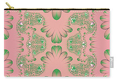 Carry-all Pouch featuring the digital art Abstract In Pink And Green by Linda Phelps