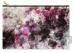 Carry-all Pouch featuring the painting Abstract Landscape Painting In Purple And Pink Tones by Ayse Deniz