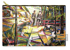 Carry-all Pouch featuring the drawing Abstract Landscape With People by Stan Esson