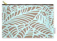 Abstract Leaves Warm Taupe Aqua Carry-all Pouch