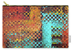Carry-all Pouch featuring the painting Abstract Modern Art - Pieces 1 - Sharon Cummings by Sharon Cummings