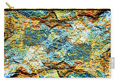 Abstract Nature Tropical Beach Rock Blue Yellow And Orange Macro Photo 472 Carry-all Pouch
