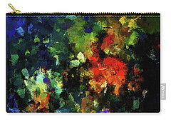 Carry-all Pouch featuring the painting Abstract Painting In Dark Blue Tones by Ayse Deniz