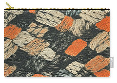 Abstract Pattern Black And Orange Carry-all Pouch