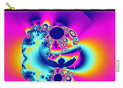Abstract Pink And Turquoise Fractal Globe Carry-all Pouch