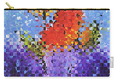 Abstract Red Flowers - Pieces 5 - Sharon Cummings Carry-all Pouch by Sharon Cummings