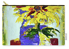 Abstract Sunflower Carry-all Pouch by Lynda Cookson