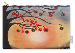 Carry-all Pouch featuring the painting Abstract Sunset by Jolanta Anna Karolska