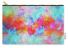 Carry-all Pouch featuring the painting Abstract Sunset Painting With Colorful Clouds Over The Ocean by Ayse Deniz