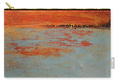 Abstract Teal Gold Red Landscape Carry-all Pouch