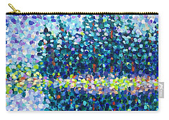 Carry-all Pouch featuring the painting Abstract Trees Impressionist Painting by Cristina Stefan
