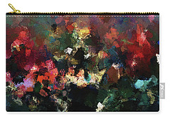 Carry-all Pouch featuring the painting Abstract Wall Art In Dark Colors by Ayse Deniz