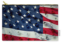Carry-all Pouch featuring the painting Abstract Water Drops On Usa Flag by Georgeta Blanaru