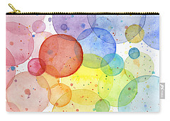 Abstract Watercolor Rainbow Circles Carry-all Pouch