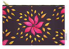 Abstract Whimsical Watercolor Pink Flower Carry-all Pouch