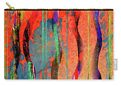 Carry-all Pouch featuring the digital art Abstract With Lines And Waves by Desiree Paquette