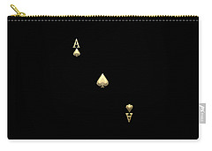 Ace Of Spades In Gold On Black   Carry-all Pouch
