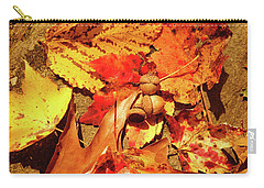 Acorns Fall Maple Leaf Carry-all Pouch by Meta Gatschenberger
