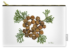 Carry-all Pouch featuring the digital art Acorns With Cedar by Lise Winne