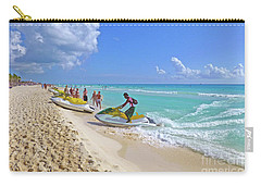 Carry-all Pouch featuring the digital art Active Beach M3 by Francesca Mackenney