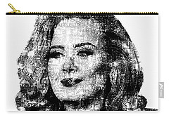 Adele Text Portrait - Typographic Face Poster With The Lyrics For The Song Hello Carry-all Pouch by Jose Elias - Sofia Pereira
