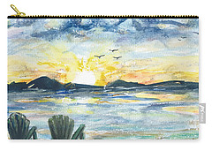 Carry-all Pouch featuring the painting Adirondack Chairs With A View by Reed Novotny