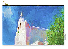 Carry-all Pouch featuring the digital art Adobe Church by OLena Art Brand