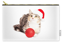 Adorable Calico Christmas Kitten Carry-all Pouch