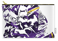 Carry-all Pouch featuring the mixed media Adrian Peterson Minnesota Vikings Pixel Art by Joe Hamilton