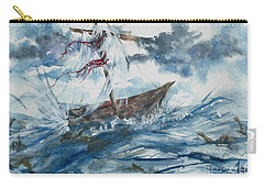 Carry-all Pouch featuring the painting Adrift At Sea by Reed Novotny