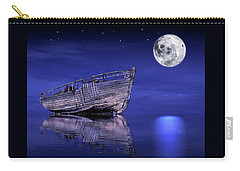 Carry-all Pouch featuring the photograph Adrift In The Moonlight - Old Fishing Boat by Gill Billington